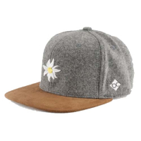 BAVARIAN CAPS Cap Edelweiss grey with leather
